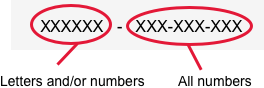 Six alpha-numeric characters, followed by nine numbers
